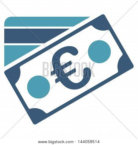 Euro Banknote and Credit Card icon. Vector style is bicolor flat iconic symbol with rounded angles, cyan and blue colors, white background.