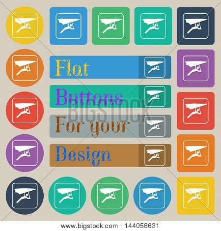 Hang-gliding Icon Sign. Set Of Twenty Colored Flat, Round, Square And Rectangular Buttons. Vector