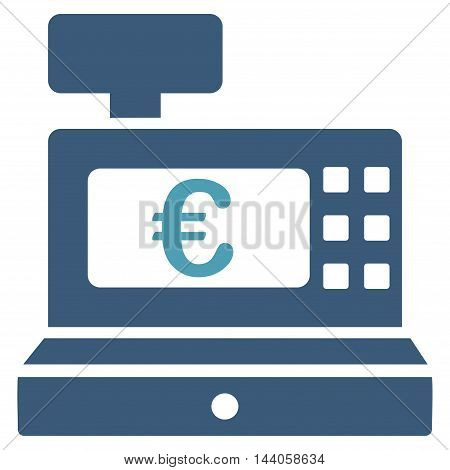 Euro Cashbox icon. Vector style is bicolor flat iconic symbol with rounded angles, cyan and blue colors, white background.