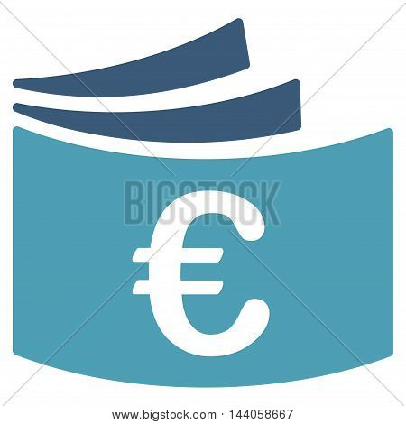 Euro Checkbook icon. Vector style is bicolor flat iconic symbol with rounded angles, cyan and blue colors, white background.