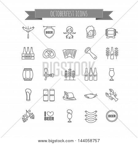 Vector Oktoberfest thin line icons set for your design