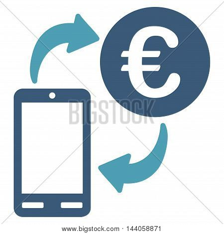 Euro Mobile Exchange icon. Vector style is bicolor flat iconic symbol with rounded angles, cyan and blue colors, white background.