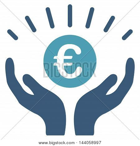 Euro Prosperity icon. Vector style is bicolor flat iconic symbol with rounded angles, cyan and blue colors, white background.