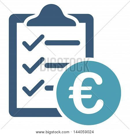 Euro Purchase Pad icon. Vector style is bicolor flat iconic symbol with rounded angles, cyan and blue colors, white background.