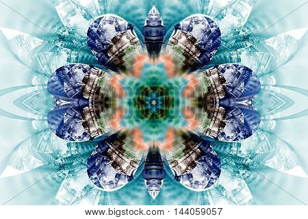 Abstract flower mandala on white background. Symmetric pattern in blue teal orange and black colors. Fractal design for posters postcards wallpapers or t-shirts. Digital art. 3D rendering.