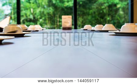 dining table with elegant table setting,  a plate on the table