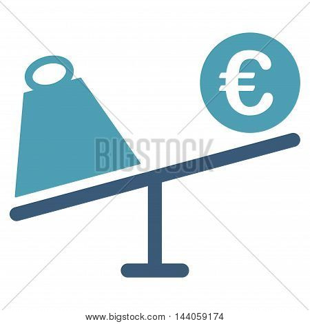 Euro Trade Swing icon. Vector style is bicolor flat iconic symbol with rounded angles, cyan and blue colors, white background.