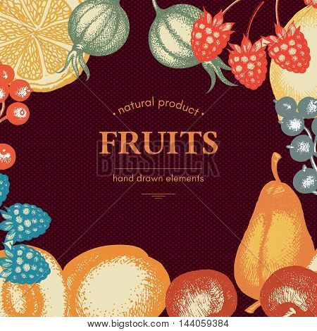 Vintage card design with vector inking fruits and berries sketch cherries peaches pears currants gooseberries Healthy food retro frame for menu