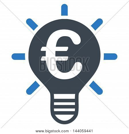 Euro Innovation icon. Vector style is bicolor flat iconic symbol with rounded angles, smooth blue colors, white background.