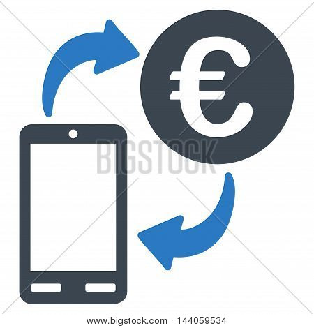 Euro Mobile Exchange icon. Vector style is bicolor flat iconic symbol with rounded angles, smooth blue colors, white background.