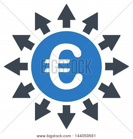Euro Payments icon. Vector style is bicolor flat iconic symbol with rounded angles, smooth blue colors, white background.