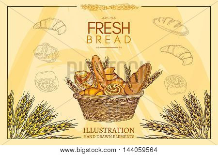 Bakery basket. Fresh bread. Template. Vector illustration