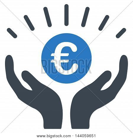 Euro Prosperity icon. Vector style is bicolor flat iconic symbol with rounded angles, smooth blue colors, white background.