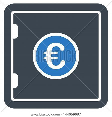 Euro Safe icon. Vector style is bicolor flat iconic symbol with rounded angles, smooth blue colors, white background.