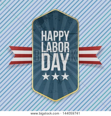 Happy Labor Day Text on Emblem with Ribbon
