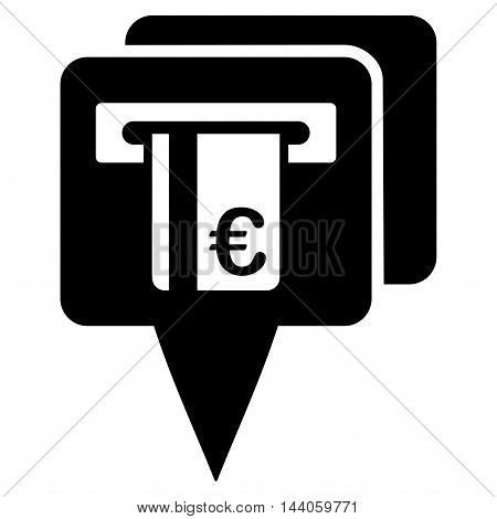Euro Atm Pointers icon. Vector style is flat iconic symbol with rounded angles, black color, white background.
