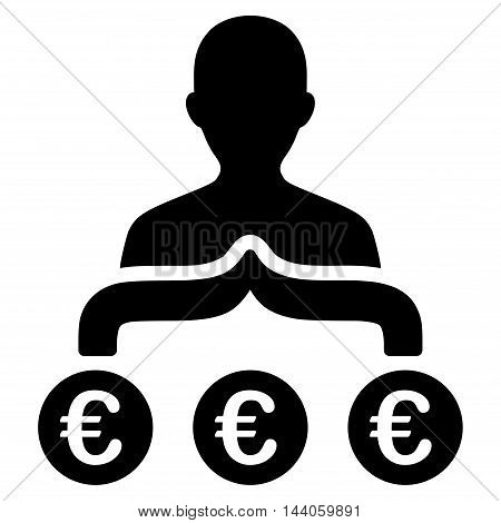 Euro Capitalist icon. Vector style is flat iconic symbol with rounded angles, black color, white background.