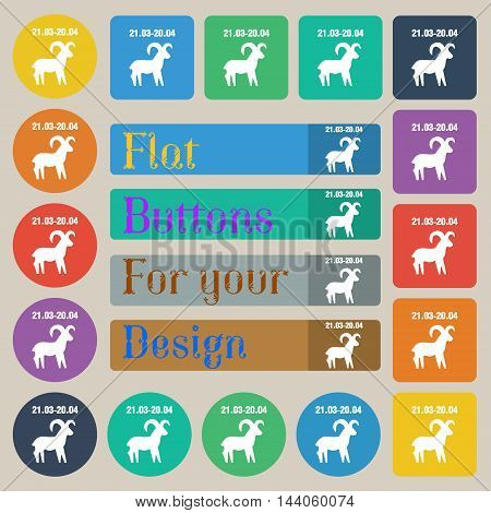 Decorative Zodiac Aries Icon Sign. Set Of Twenty Colored Flat, Round, Square And Rectangular Buttons