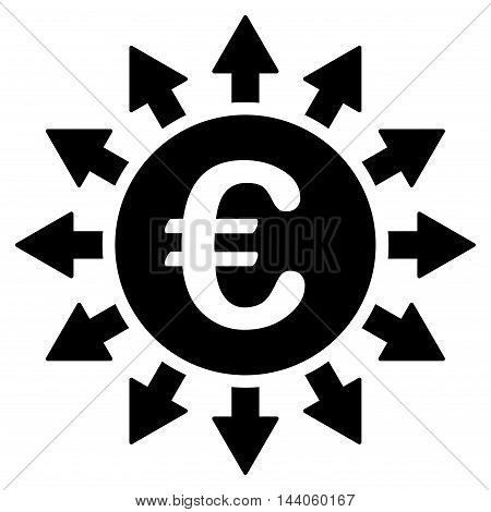 Euro Payments icon. Vector style is flat iconic symbol with rounded angles, black color, white background.
