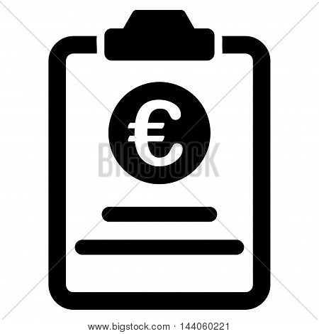 Euro Prices Pad icon. Vector style is flat iconic symbol with rounded angles, black color, white background.