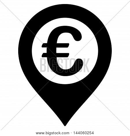 Euro Pushpin icon. Vector style is flat iconic symbol with rounded angles, black color, white background.