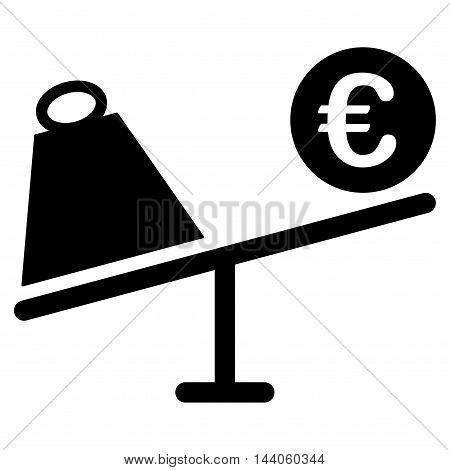Euro Trade Swing icon. Vector style is flat iconic symbol with rounded angles, black color, white background.