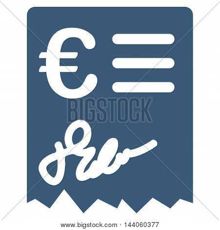 Euro Invoice icon. Vector style is flat iconic symbol with rounded angles, blue color, white background.
