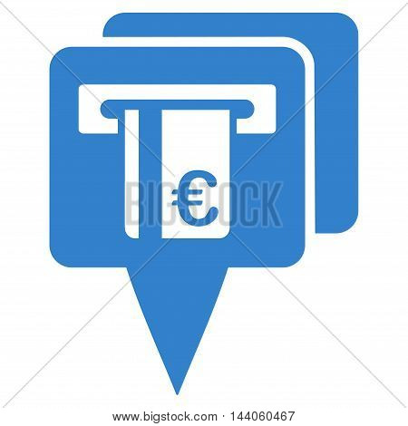 Euro Atm Pointers icon. Vector style is flat iconic symbol with rounded angles, cobalt color, white background.