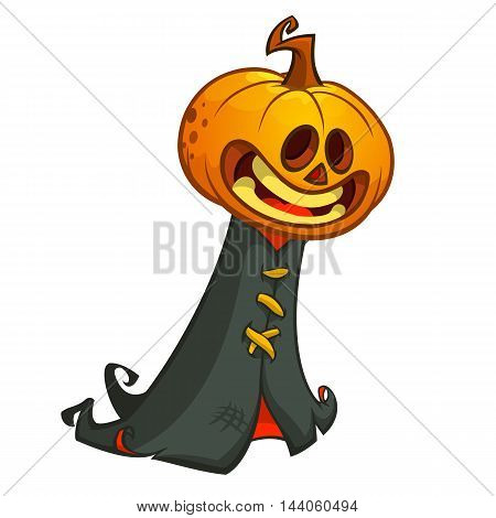 Halloween pumpkin head ghost in black hood. Vector illustration isolated on white