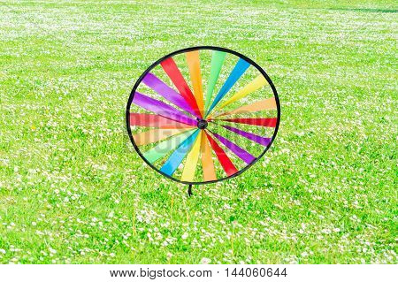 Colourful colorful pinwheel on a flower meadow.