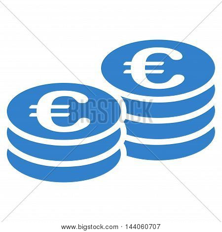 Euro Coin Stacks icon. Vector style is flat iconic symbol with rounded angles, cobalt color, white background.