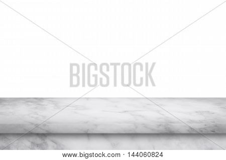 Empty white marble table isolated on white background. For display or montage your products.