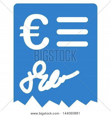 Euro Invoice icon. Vector style is flat iconic symbol with rounded angles, cobalt color, white background.