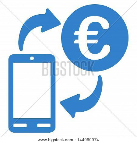 Euro Mobile Exchange icon. Vector style is flat iconic symbol with rounded angles, cobalt color, white background.