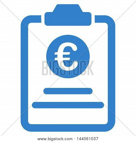 Euro Prices Pad icon. Vector style is flat iconic symbol with rounded angles, cobalt color, white background.