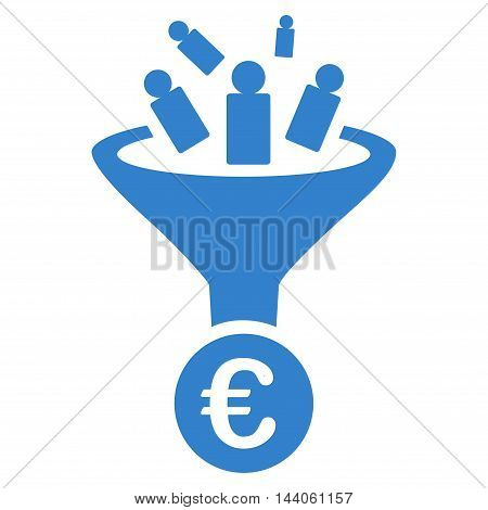 Euro Sale Conversion icon. Vector style is flat iconic symbol with rounded angles, cobalt color, white background.