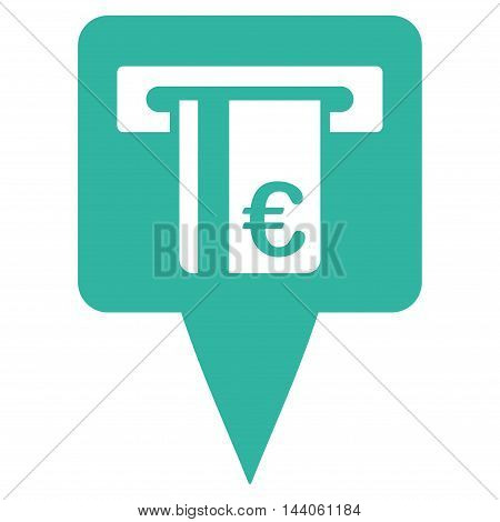 Euro Atm Pointer icon. Vector style is flat iconic symbol with rounded angles, cyan color, white background.