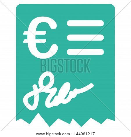 Euro Invoice icon. Vector style is flat iconic symbol with rounded angles, cyan color, white background.
