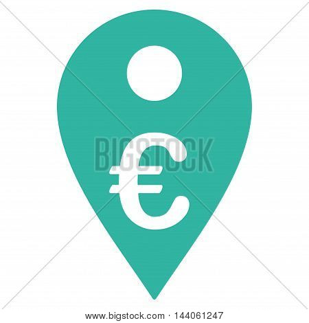 Euro Map Marker icon. Vector style is flat iconic symbol with rounded angles, cyan color, white background.