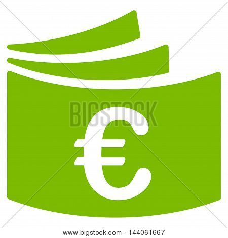 Euro Checkbook icon. Vector style is flat iconic symbol with rounded angles, eco green color, white background.