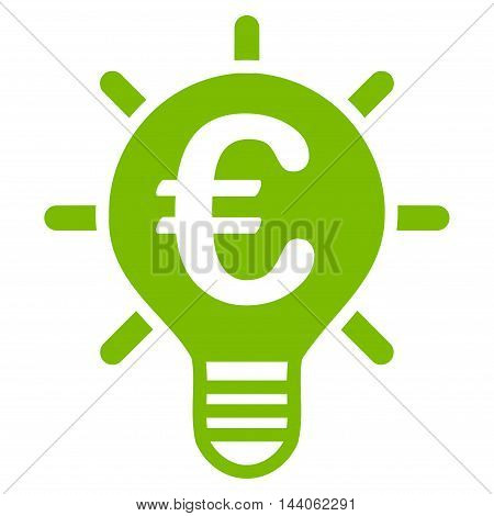 Euro Innovation icon. Vector style is flat iconic symbol with rounded angles, eco green color, white background.