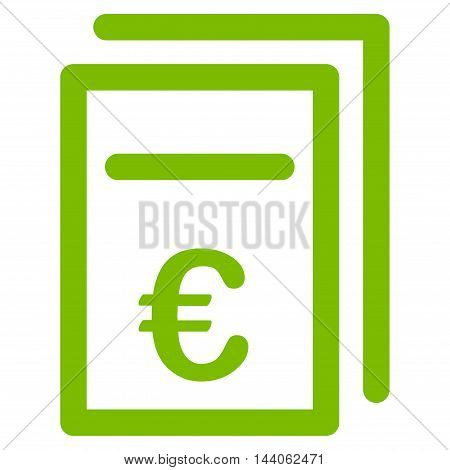 Euro Pricing Documents icon. Vector style is flat iconic symbol with rounded angles, eco green color, white background.