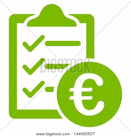 Euro Purchase Pad icon. Vector style is flat iconic symbol with rounded angles, eco green color, white background.