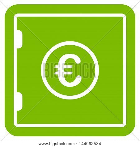 Euro Safe icon. Vector style is flat iconic symbol with rounded angles, eco green color, white background.