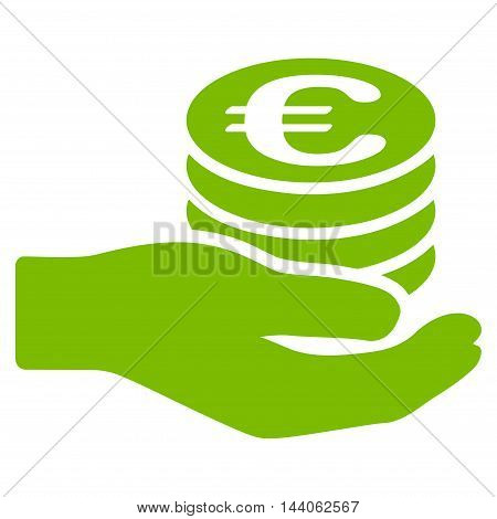 Euro Salary icon. Vector style is flat iconic symbol with rounded angles, eco green color, white background.