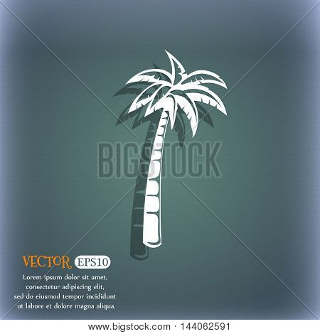 Palm Icon. On The Blue-green Abstract Background With Shadow And Space For Your Text. Vector