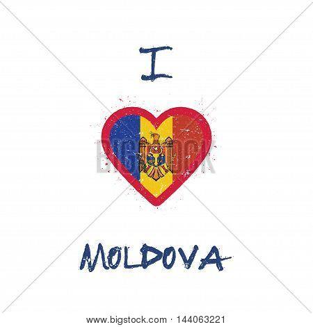 I Love Moldova, Republic Of T-shirt Design. Moldovan Flag In The Shape Of Heart On White Background.