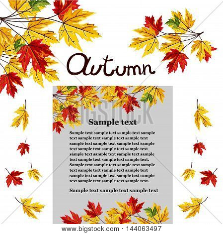Banner of autumn leaves vector illustration. Background with hand drawn autumn leaves. Design elements. Autumn leaves fall on banner. Natural concept background. Autumn.