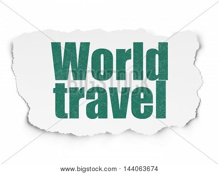 Travel concept: Painted green text World Travel on Torn Paper background with  Hand Drawn Vacation Icons