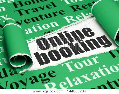 Vacation concept: black text Online Booking under the curled piece of Green torn paper with  Tag Cloud, 3D rendering